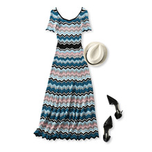 18 summer new style French style color wavy stripes Slim thin short-sleeved long knit dress