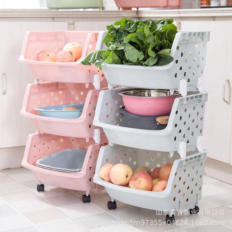 【美沂】包邮厨房塑料收纳儿童玩具收纳箱多层可叠加置物架蔬果篮