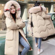 高档女式棉衣中长款韩版女装冬季连帽大毛领宽松大码羽绒棉服外套