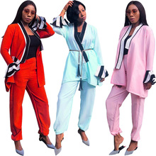 S3489 Foreign trade Europe and America women's sexy striped stitching ruffled sleeves jacket + casual trousers two-piece