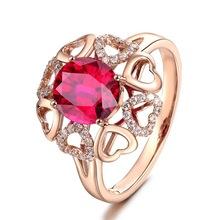 欧美红宝石镶钻分码指环 镶嵌红水晶镀18K玫瑰金戒指女