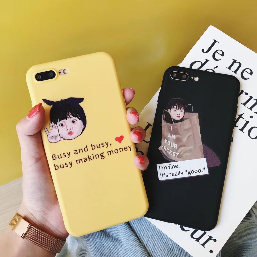 Creative simplicity busy shopping cute apple x/6PLUS mobile phone shell cartoon cute iPhone7plus soft shell
