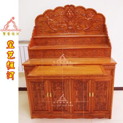 藏式佛龛 三层佛台 实木佛柜 雕八吉祥 神台 佛堂 藏式家具厂