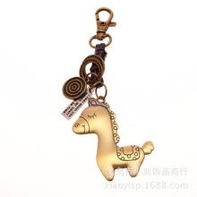 义乌手工编织汽车挂件复古真皮合金古青铜小洋马牛皮钥匙链金属扣