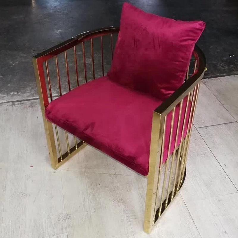 简约现代布艺洽谈镀金不锈钢宴会休闲围椅  不锈钢餐椅单人沙发