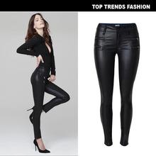 2018亚马逊EBAY速卖通热卖欧美女装爆款低腰修身小脚PU皮裤双拉链