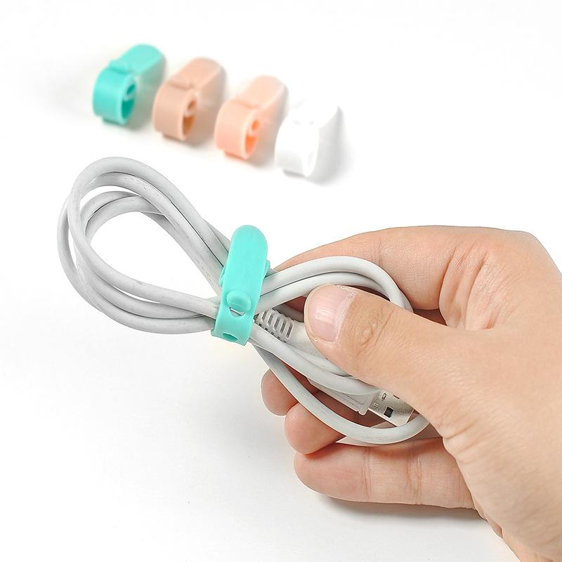 4个装 耳机绑线扣绕线器 数据线理线带 绕线扣扎线带硅胶收纳1412