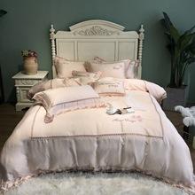 新款80支高端蘭精雙面純天絲刺綉四件套歐式風大蕾絲超柔床上用品