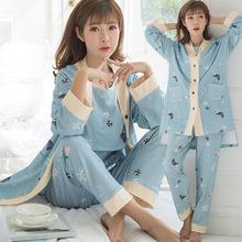 新款春秋季三件套月子服长袖纯棉产妇装孕妇喂奶衣纯棉女睡衣家居