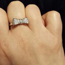 巧锦 外贸欧美wish爆款 白金色蝴蝶结戒指 简约女士满钻锆石戒指