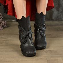 厂家直销原创民族风女鞋秋冬季新款女靴手工真皮蝴蝶系带高跟短靴