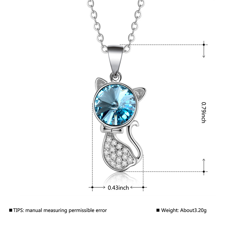 Fashion micro-inlaid zircon cat Austrian crystal necklace NHLJ170135