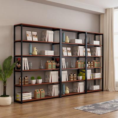 简约现代多层书架超市便利店货架多功能钢木落地收纳展示架可定制