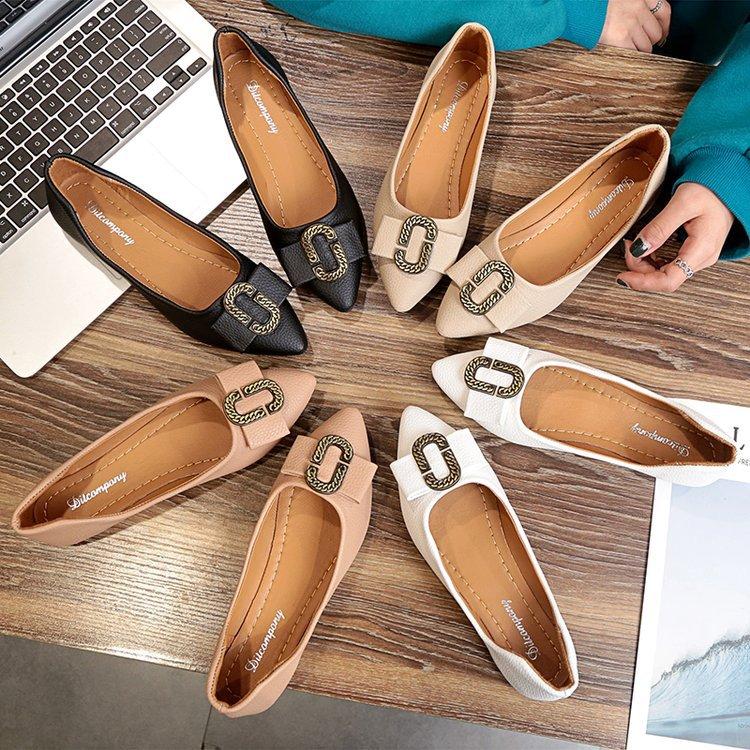 一件代发2018春秋新款平底鞋女韩版百搭舒适时尚平跟瓢鞋尖头浅口