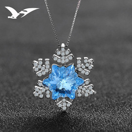S925 sterling silver necklace female simple snowflake pendant clavicle chain fashion blue crystal jewelry