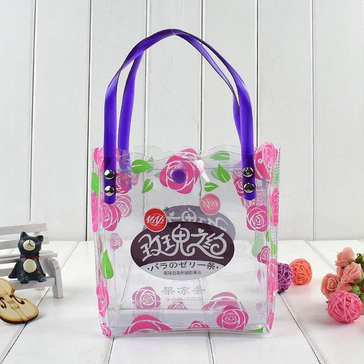 【厂家定制】pvc手提袋 按扣纽扣袋 水果冻包袋 拉链化妆品包装袋