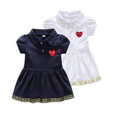 夏季嬰兒連衣裙純棉翻領純色兒童連衣裙百搭女童衣服