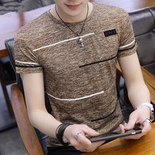 夏季男士短袖t恤冰丝圆领半袖上衣服潮韩版男装印花体恤打底衫T桖