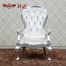 驰通家具 新古典休闲椅 银箔装饰椅 白色欧式实木椅子酒店高背椅