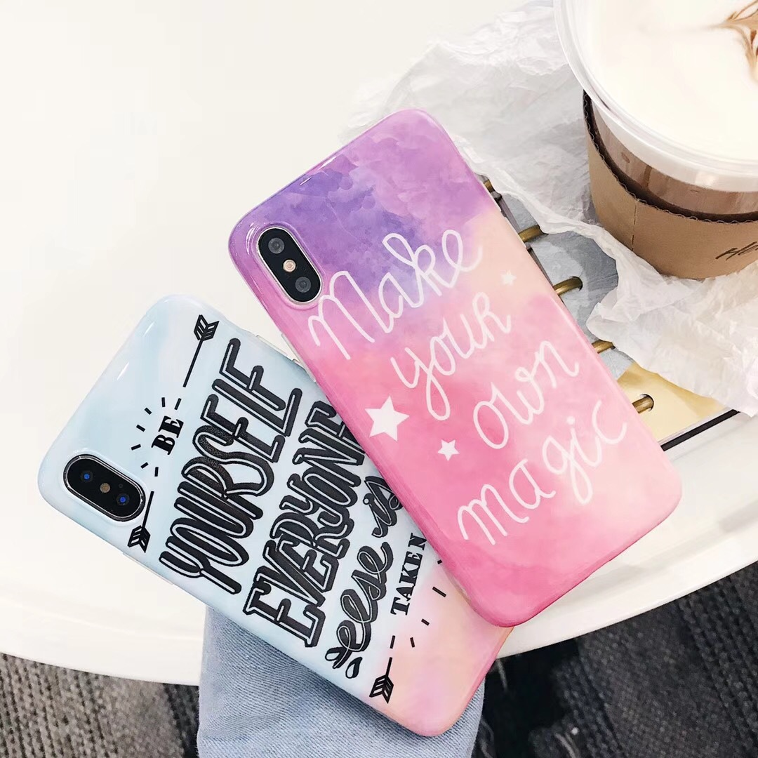 Literary Han Feng English Apple 6 mobile phone shell iphone7plus/6s/8 creative personality Japanese Korean women's models