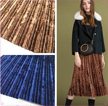 丝绒压褶面料 秋冬时装丝绒连衣裙压皱布料 闪光钻石绒压褶料批发