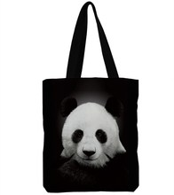 3D印花熊貓圖案女單肩包購物袋新款大容量女包帆布包印花卡通布包