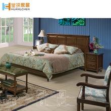 皇琛家居实木床美式乡村床桃花芯木卧室家具1.8米双人床工厂批发
