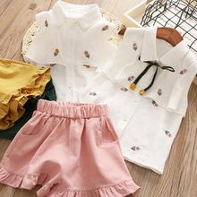 女童刺绣衬衫童套装 韩版外贸童装 夏款儿童两件套装 18561