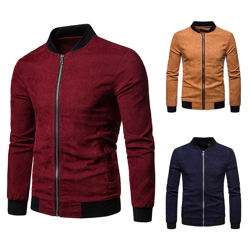 Foreign trade men's new cross border corduroy large size jacket coat solid color stand collar cardigan top