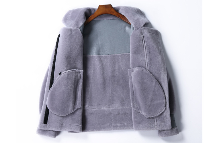 Real Fur Sheep Leather Coat Winter Warm Jacket for Woman