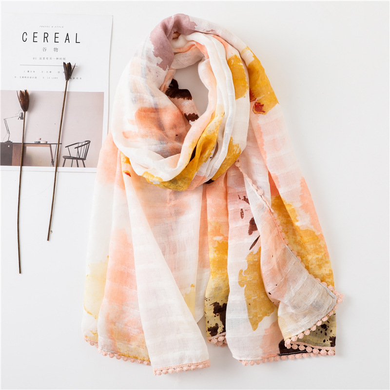 Scarf women summer new fringed cotton and linen scarf long dual-use air conditioning gauze beach towel sun shawl NHGD199195