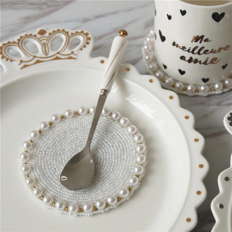 公主少女心手工串珠杯垫碗垫隔热垫餐小桌垫珍珠杯垫