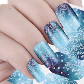 New nail applique full coverage ice blue rose nail watermark sticker flower art decoration sticker WG2173