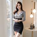 2018韩版时尚新款OL气质V领修身显瘦包臀不规则五分袖女装连衣裙