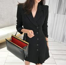 2020春跨境女装单排扣百褶修身黑色小西装外套女中长款长袖8651