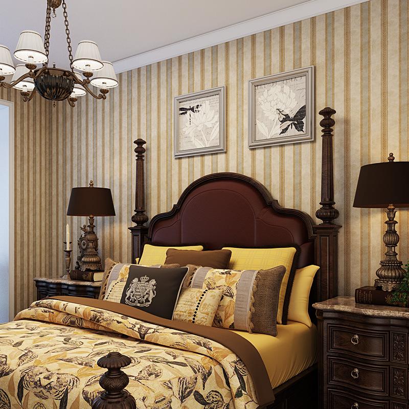 美式复古怀旧条纹无纺布纯纸壁纸 客厅卧室沙发别墅卧室背景墙纸