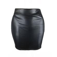 S-3XL 跨境韩版女仿皮打底裙 亚光仿皮裙 仿pu包臀短裙 半身裙夏