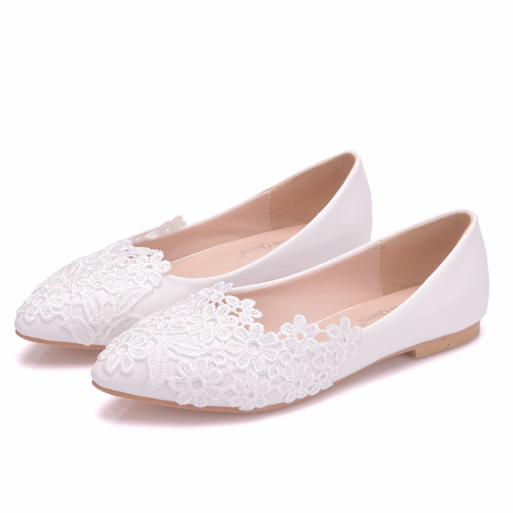 Crystal Queen Ballet Flats White Lace Wedding Shoes Flat Heel