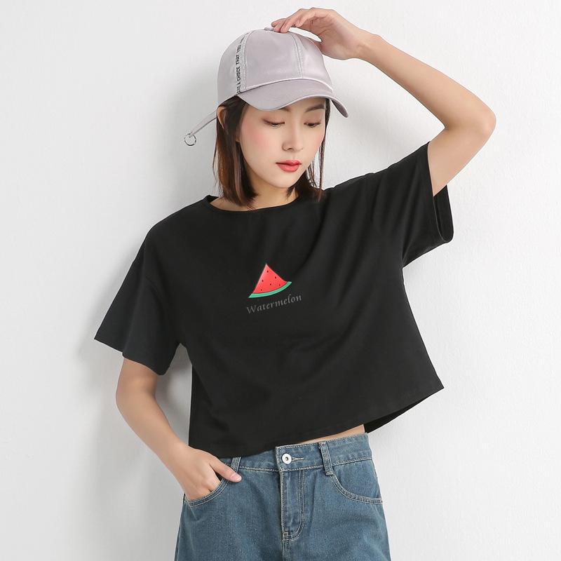 钒飐2020新款短袖t恤女夏季薄短款上衣chic韩版高腰露脐宽松女装