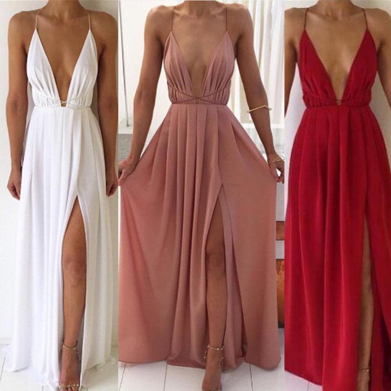 夏季欧美时尚性感V领低胸吊带露背女士雪纺裙波西米亚连衣裙女装