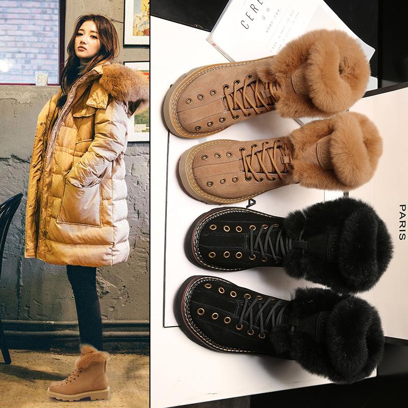 2019冬季新百搭韩版马丁靴女款脚脖兔毛百搭厚底加厚绒休闲雪地靴