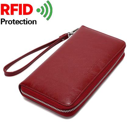 Amoy da sáp da da thẻ organ nữ rfid đa chức năng công suất lớn thẻ kinh doanh túi ví điện thoại túi