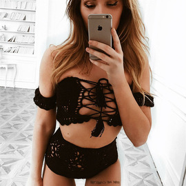Ins Europe and the United States new bikini sexy thin word shoulder swimsuit beach high waist hollow split swimsuit women