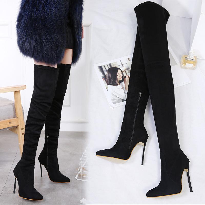超长过膝靴长靴长筒靴子女冬2017新款平底黑色百搭高筒弹力靴