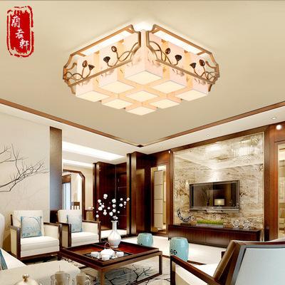 新中式吸顶灯现代手绘荷花灯中国风客厅灯简约浪漫卧室灯餐厅吊灯