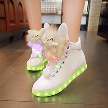 秋冬季高幫發光鞋女usb充電夜光熒光鞋七彩燈鬼步鞋會發光的鞋子