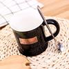 新款创意复古铭牌咖啡杯时尚卡通陶瓷杯耐高温学生马克杯支持定制