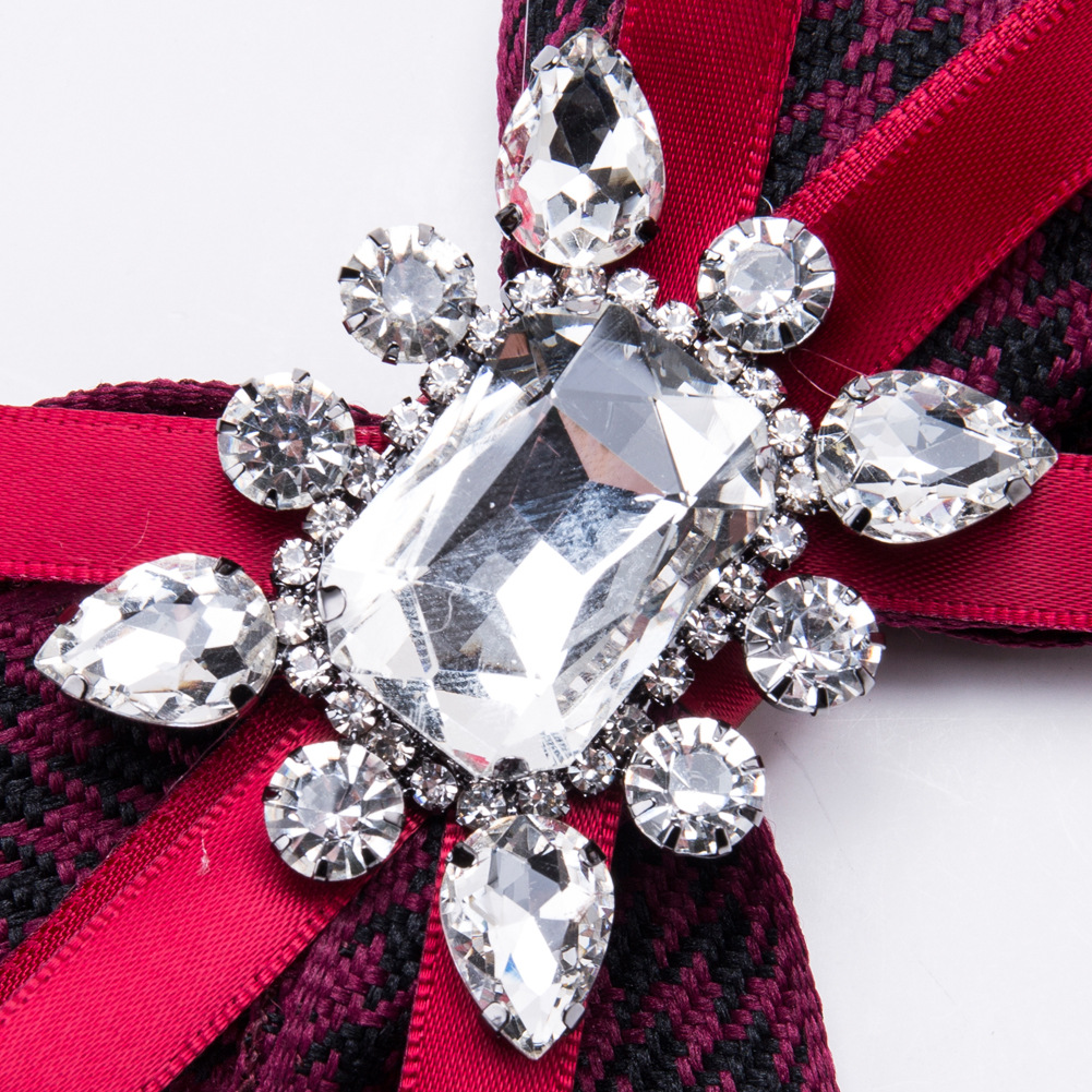 Fashion Alloy Diamond brooch Bows (Black and white)NHJE1155-Black and white