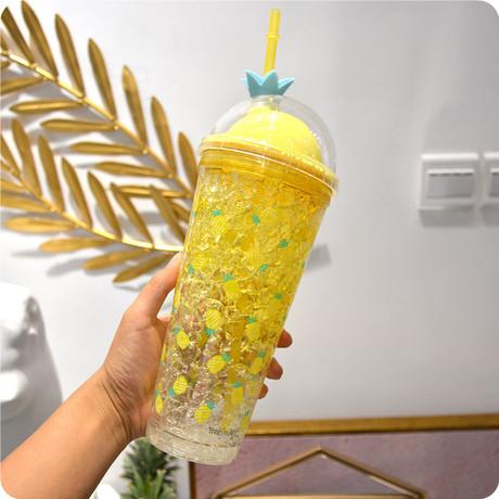 Mùa hè vỡ cốc đá sáng tạo nữ sinh viên hai tầng cốc phiên bản Hàn Quốc với cốc rơm dành cho người lớn cốc nhựa tươi