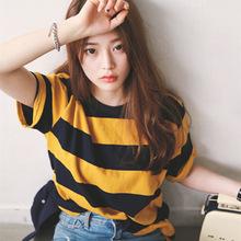 2019夏季女装T恤韩国ulzzang新款百搭宽松黄黑条纹圆领短袖T恤